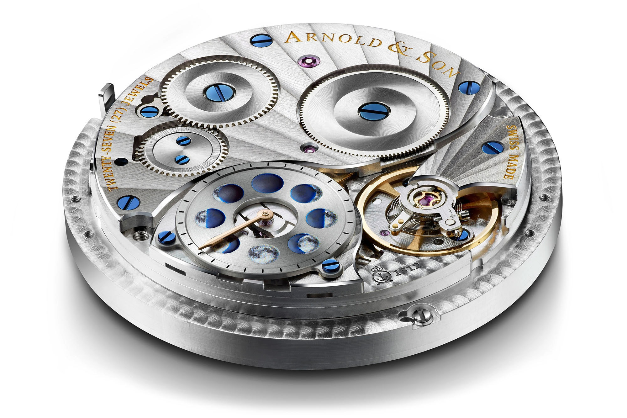 The Arnold & Son HM Double Hemisphere Perpetual Moon movement  Introducing: The Arnold & Son HM Double Hemisphere Perpetual Moon, With A Very Large High Precision Moon Phase Display Introducing: The Arnold & Son HM Double Hemisphere Perpetual Moon, With A Very Large High Precision Moon Phase Display a1