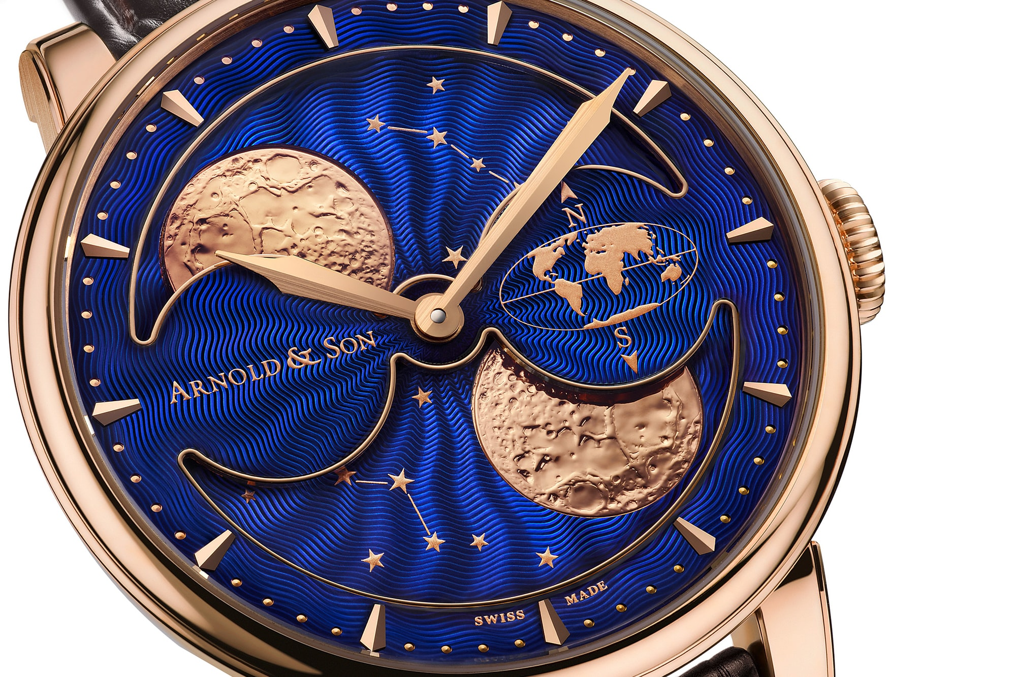 The Arnold & Son HM Double Hemisphere Perpetual Moon dial closeup Introducing: The Arnold & Son HM Double Hemisphere Perpetual Moon, With A Very Large High Precision Moon Phase Display Introducing: The Arnold & Son HM Double Hemisphere Perpetual Moon, With A Very Large High Precision Moon Phase Display 33333