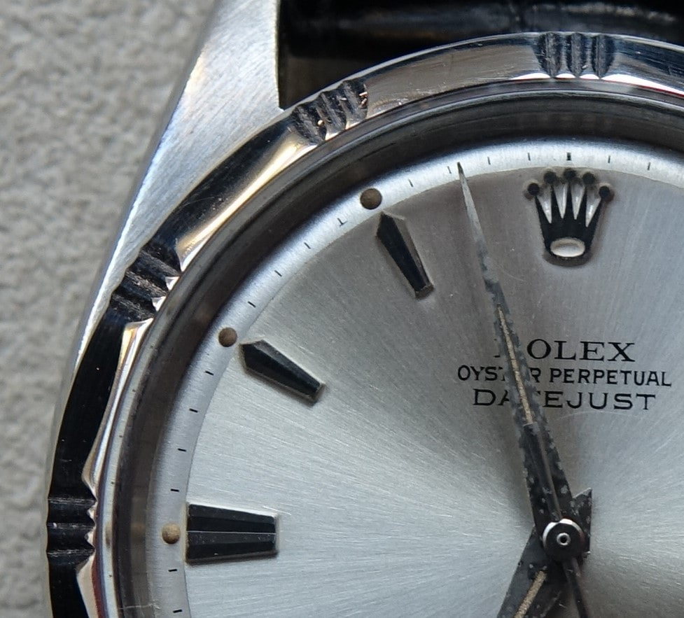 Rolex Datejust Reference 1603 dial detail First Look: Five Unexpected Vintage Lots From The Upcoming Watches Of Knightsbridge Auction First Look: Five Unexpected Vintage Lots From The Upcoming Watches Of Knightsbridge Auction DSC07799 2