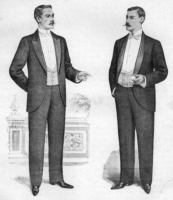 men in dinner jackets, late 19th century White Tie, Black Tie, And Watches: Is It Ever Okay To Wear A Watch With A Tux? White Tie, Black Tie, And Watches: Is It Ever Okay To Wear A Watch With A Tux? Dinner Jackets 1898